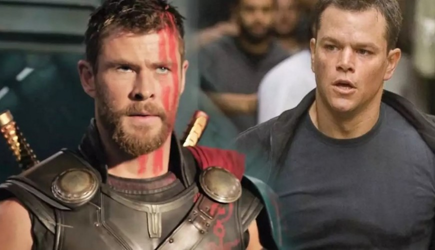 Chris Hemsworth agarra flecha disparada por Matt Damon. Veja o vídeo